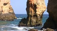 Stock Video Footage of Rocky southcoast in the Algarve Portugal