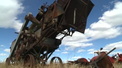 Dolly shot, 1920 combine thresher, #3 Stock Footage