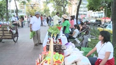 People on the middle of an avenue in an organic market. Stands selling Stock Footage