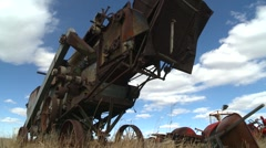 Dolly shot, 1920 combine thresher, #1 Stock Footage