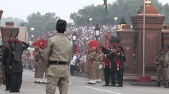 Flag lowering ceremony India Pakistan at Wagah border Stock Footage