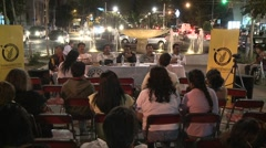 Activist gathering in the middle of Chapultepec Avenue. Time lapse of anti-GMO - stock footage