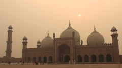 Lahore Badshahi mosque at sunset - stock footage
