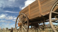 Stock Video Footage of dolly shot, old wooden grain wagon