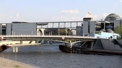 Spree ships.Bridge modern  (Reichstag), Berlin, Germany Stock Footage