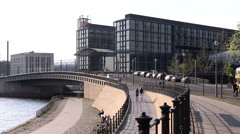 Haupbanhov Spree.Bridge. Berlin Germany Stock Footage