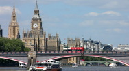 Stock Video Footage of London Big Ben Houses of Parliament boat approaches Lambeth Bridge