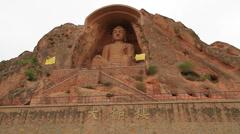 Maitreya Buddha statue, Xumi Shan grotto's, China - EXTRA-WIDE Stock Footage
