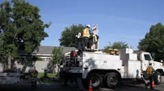 utility construction workers, crane - stock footage