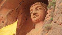 Maitreya Buddha statue, Xumi Shan grotto's, China - MED - stock footage