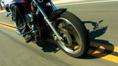 Front End Of Speeding Motorcycle in Desert 1 Stock Footage