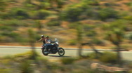 Motorcycle Drives By In Joshua Tree National Park 3 Stock Footage