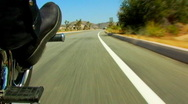 Stock Video Footage of Right Footpeg of Speeding Motorcycle In Desert 2