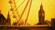 London. Big Ben and London Eye. Stock Footage