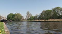 Boattrip on canal of Blokzijl Stock Footage