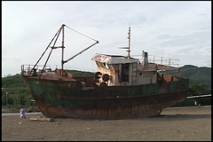 Ship on Beach Stock Footage