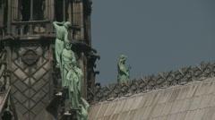 Notre Dame Statues, Paris Stock Footage