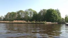 Boattrip on channel of Blokzijl Stock Footage