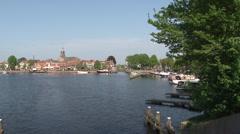 View at harbor of Blokzijl Stock Footage