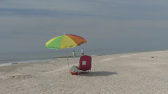 Sanibel beach umbrella Stock Footage