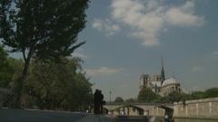 Notre Dame de Paris - Slow zoom Stock Footage