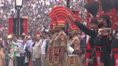 Soldiers at Wagah border, ceremony between India and Pakistan Stock Footage