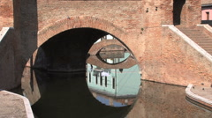 Italy Po delta Comacchio canals zooms out Stock Footage
