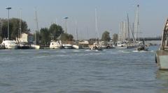 Italy Po delta boats Stock Footage