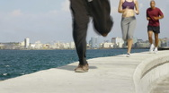 Three friends doing sport activities near the sea in Havana, Cuba Stock Footage