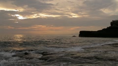 Indian Ocean near Tanah Lot Temple in Bali Stock Footage