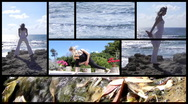 Stock Video Footage of Fitness - Women exercise healthy peaceful Yoga collage lifestyle beach