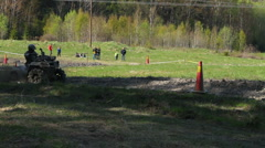 Mud racing with ATVs Stock Footage