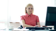 Businesswoman receiving phone call during work HD - stock footage