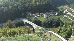 Italy Piedmont steep vineyard machine 1 Stock Footage