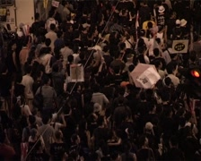 Huge Crowds Demonstrate 02 - 1 July Protest Hong Kong, China GFSD Stock Footage