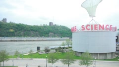 Round science building in Pittsburgh Stock Footage