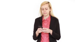 Businesswoman texting, sending sms, isolated on white HD Stock Footage