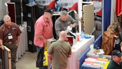 Booth at gun show(HD)c Stock Footage