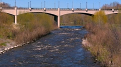 Milwaukee River and Bridge Stock Footage