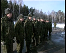 Winter. Field camp of the army. Soldiers in the ranks. Zoom person Stock Footage