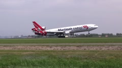MD-11 landing Martinair Cargo Stock Footage