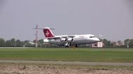 Swissair cityjet landing Stock Footage