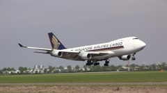 Big 747 plane from singapore airlines cargo - stock footage