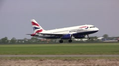 British airways plane landing at Schiphol Amsterdam Stock Footage