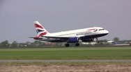 Stock Video Footage of British airways plane landing at Schiphol Amsterdam