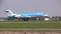 KLM cityhopper Fokker 70 landing Stock Footage