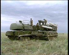 Loading missiles on air defense missile systems BUK - stock footage