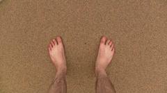 Feet on the beach - stock footage