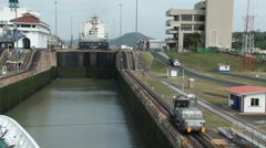 Lock on the Panama Canal Stock Footage