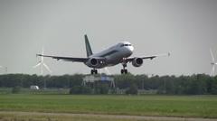 Stock Video Footage of Alitalia airbus landing